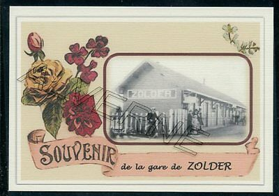 ZOLDER  -gare + train  2 cp souvenir creation moderne serie numerotee