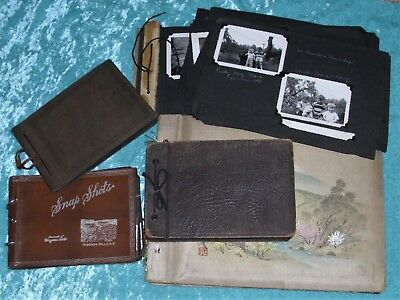 >> LARGE LOT OF 5 Antique PHOTO ALBUMS 1920s - 50s Vintage PHOTOS >>