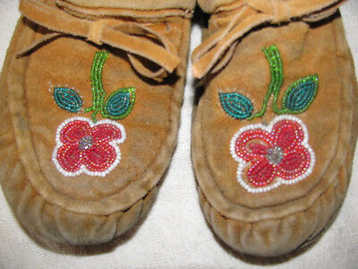 Vintage Native American Beaded Leather Moccasin Mukluk Boots AS IS