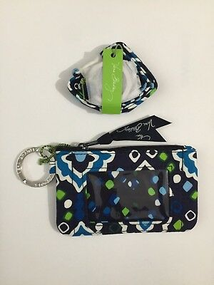 new brand VERA BRADLEY ZIP ID CASE & LANYARD SET   ink blue GIFT
