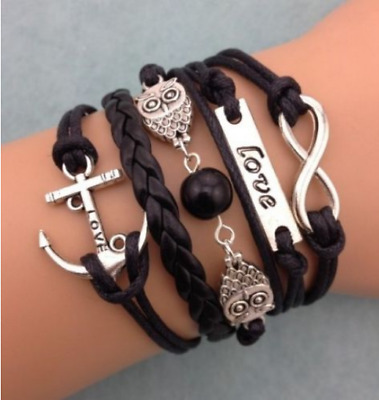 NEW Jewelry fashion Leather Infinity Charm Bracelet Silver