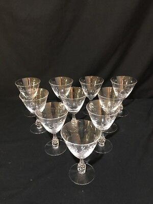 (Set of 10) Antique Etched Glass Lage Red Wine/Water Goblet Stemware