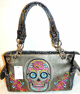 Womens Skull Handbag Nwt Purse Pewter Multi Sugar Skull Bag!! Great Gift!