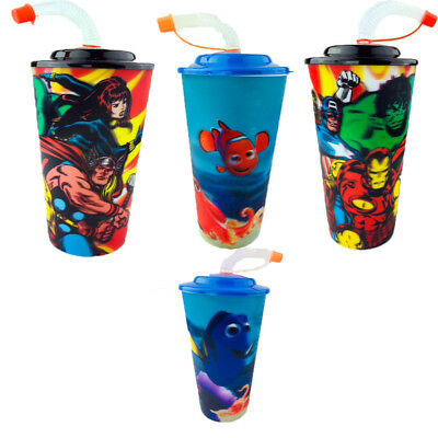 Children 3D Lenticular cup With  Straw Cups  Plastic DORY/AVENGERS