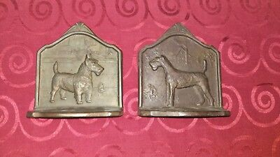 Pair Antique Vtg Brass Dog/Terrier Bookends c1929