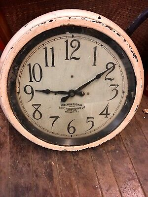 Vintage Rare Old International Time Recording Co antique, Clock Old Paint. As Is
