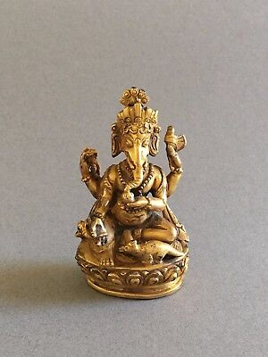 Antique Tibetan or Nepalese Small Gilt Bronze Ganesh Ganesha Devotional Statue
