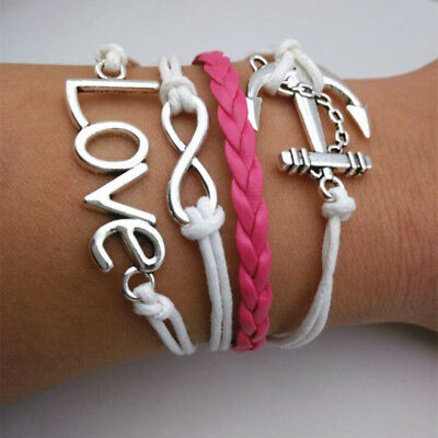 NEW Infinity Love anchor Friendship Leather Charm Bracelet Silver Cute