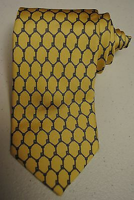 "Dunhill Tie Yellow Fence Link Silk Italy 59"" Luxury"