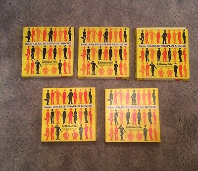 VINTAGE LOT OF 5 BLACKHAWK FILMS CHARLIE CHAPLIN SUPER 8MM MOVIES. (7in. REELS)
