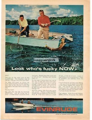 1964 Evinrude 9.5hp Sportwin Outboard Motor Fishing for Muskellunge Vtg Print Ad