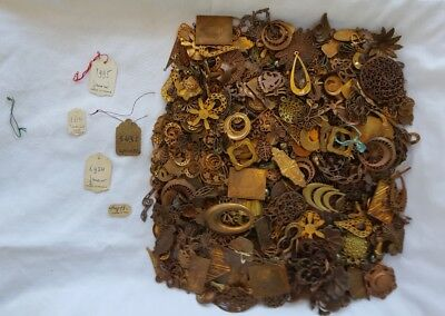 2 POUNDS OF VINTAGE 1900s FRENCH ORMOLU ORNATE PIECES BRASS COPPER BRONZE