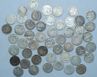 1837-1891 Roll Of 50 Liberty Seated Dimes Cull Or Better Common Dates See Pics