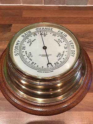 Antique Brass Ships Barometer John Barker Kensington Maritime Marine Nautical