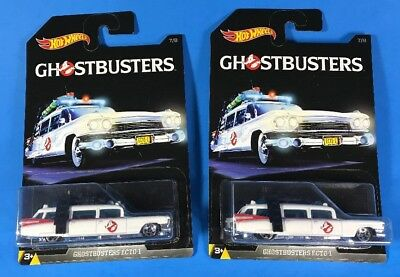 Lot of 2 Hot Wheels GHOSTBUSTERS ECTO-1 Movie Vehicles in White from Walmart Set