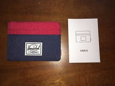 Herschel Supply Company CHARLIE Card Holder Wallet Navy & Red