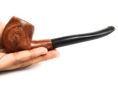 Handcrafted sherlock holmes Smoking Tobacco  pipe red  bent Fishtail 6 inch