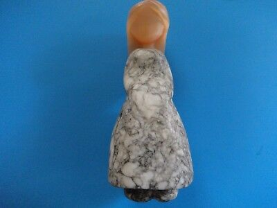 Vintage Russian Girl Carved Stone Figurine Sculpture Statue-Russian Stone Figure