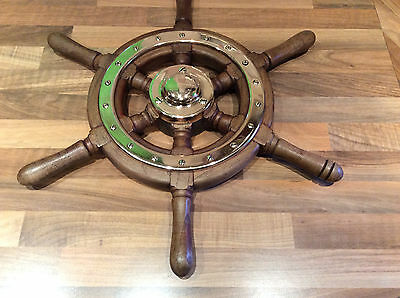 "Original Ships Teak & Brass Wheel ""Belle Isle"" Maritime Marine Nautical Boat"