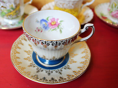 Vintage Queen's English Bone China Blue Gold Gilt Tea Cup and Saucer Set Floral