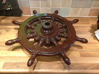Original Antique Dhow Ships Wheel Wood Brass Trim Boat Nautical Maritime Marine