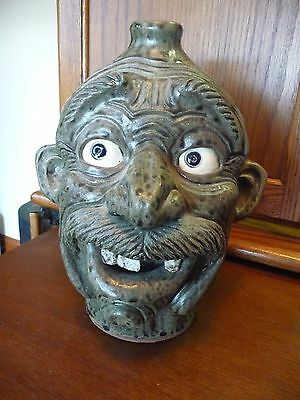 Incredible ROCK TOOTH - Snaggle-Tooth Pottery Face Jug by Melvin Crocker, GA