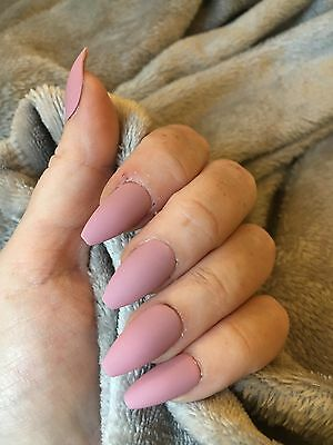 Hand Painted FALSE NAILS - Rose Pink - Matt - STICK ON