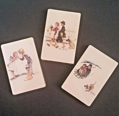 Norman Rockwell Trump Vintage Playing Cards 3 Decks Poker NEW Girl/Boy/Dog