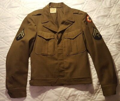 Wwii Military U.s. Army Tech Corporeal  Eisenhower Wool Uniform Jacket 34 R