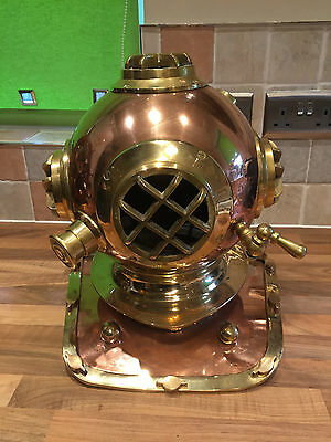 Vintage Repro Brass Copper Divers Diving Helmet Maritime Marine