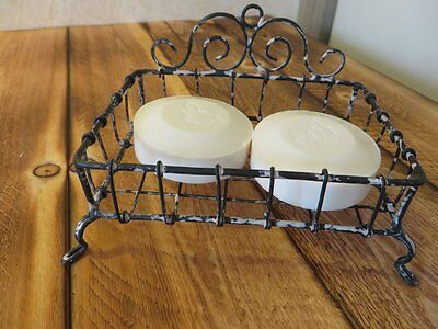 Rustic Farmhouse Country Antique Hand Wrought WIre Soap Dish Holder Stand