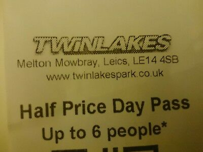 Twinlakes Theme Park 50% off voucher for up to 6 people worth up to £60 Discount