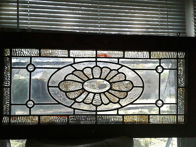 BEAUTIFUL LEADED STAINED GLASS WINDOW w/WOODEN CASING, CABINET DOOR, OR HANGING