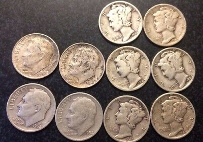 10 Dimes Pre 1964 Roosevelt (4) And Mercury(6) Face Value $12.44 Silver Alone #2