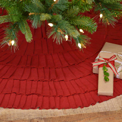 new french country primitive red burlap ruffled large christmas tree skirt 48