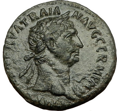 TRAJAN 98AD Rome Authentic Ancient Original Genuine Roman Coin VICTORY i65460