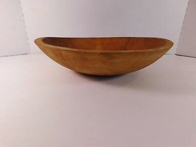 Vintage Small Wooden Bowl, 11 1/2 by 10 3/4 Inches, 2 1/2 Inches Tall