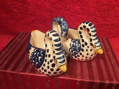 French Faience Majolica Double Swans Open Salt, ff635 GREAT GIFT IDEA!!