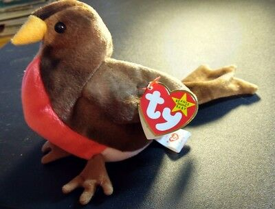 Ty Beanie Baby Early Red Breasted Robin Plush 1997
