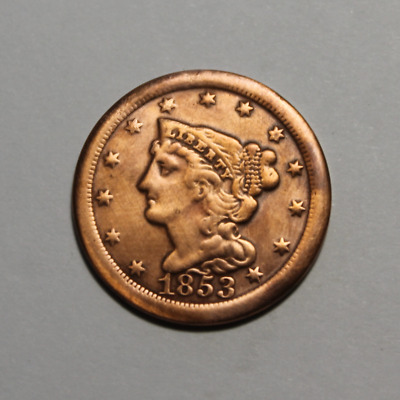 1853 Braided Hair Half Cent