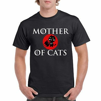 Mens Funny Printed T Shirts-Mother of Cats Game of thrones Inspired-Gifts