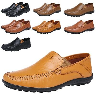 Mens Moccasins Breathing Real Leather loafers Slip On Lace Up Shoes UK 5-13