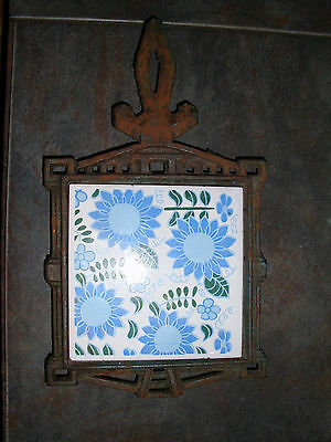 Vintage Cast Iron Trivet w/ Tile Flowers Made in Japan Antique Kitchen Decor