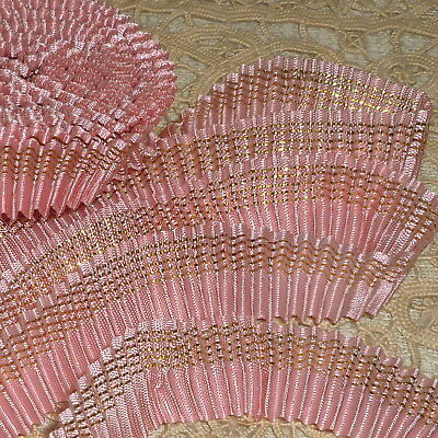 Paris Flea Market Pleated Pink and Gold Metal Trim