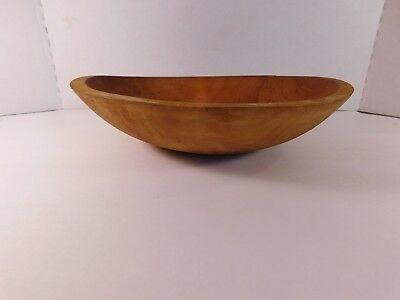 Medium Brown Oval Wooden Bowl - 11 1/2 by 10 1/2 Inches - Lot 3