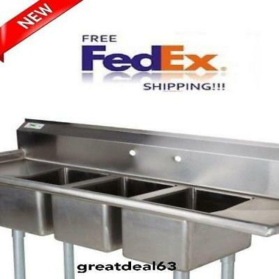 58 Stainless Steel 3 Compartment Commercial Dish wash Sink Restaurant Three NSF