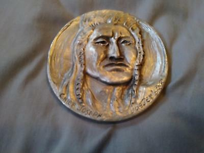 Vintage Joe Beeler Pewter Medallion Chief Joseph Native American Eddie Basha