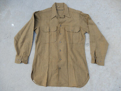 Original 1943 Dated Us Army Mustard Wool Shirt 15-1/2 X 32 With Gas Flaps, Named