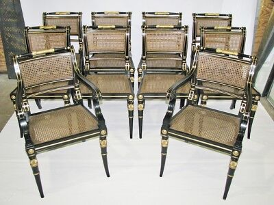 Stunning Set of 10 Baker Furniture Black & Gold Regency Style Dining Chairs