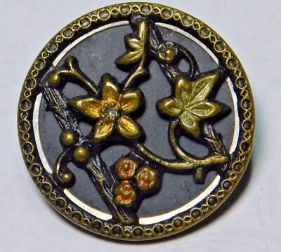 "ANTIQUE Tinted BRASS Victorian FLOWER Button 1.0"" HAND Painted"